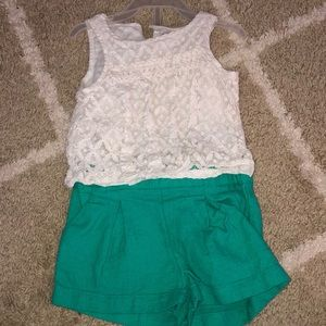 Oshkosh lace top and teal tweed shorts